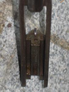 Le pistolet Lepage 1924, vue de la cuvette de tir.